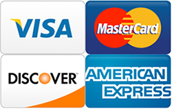 we accept VISA, Master Card, American Express, Discover